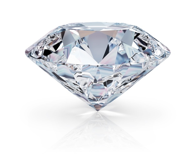 A beautiful sparkling diamond on a light reflective surface. 3d image. Isolated white background.