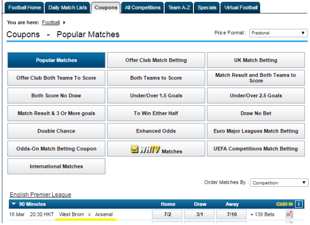 enjoy football coupons at William Hill page